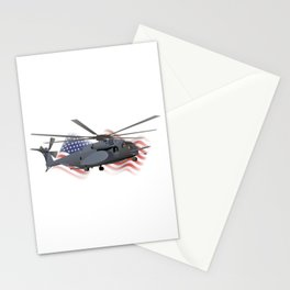 Patriotic Military MH-53 Helicopter Stationery Cards