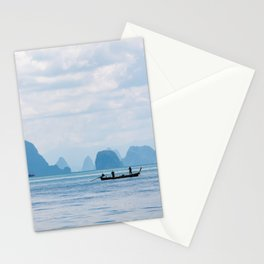 Two men in a boat fishing in Phang Nga Bay, Phuket, Thailand Stationery Cards