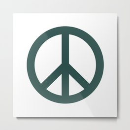 Peace (Dark Green & White) Metal Print