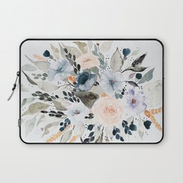 Loose Blue and Peach Floral Watercolor Bouquet  Laptop Sleeve
