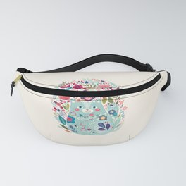 Cute Cozy Watercolour Illustration Scandinavian Style Chubby Blue Cat Floral Forest Illustration Fanny Pack