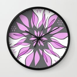 Wild Flower In Shades of Pink, Grey and White Wall Clock