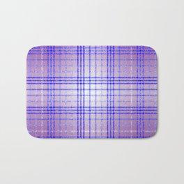 Thin Blue and Purple Speckled Tartan Pattern Bath Mat
