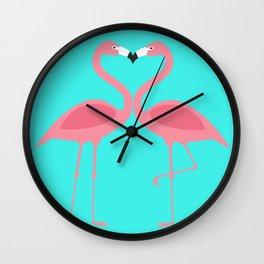Flamingos Kissing Wall Clock