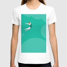 diver girl jumping into the clouds T-shirt