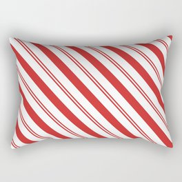 Red and White Candy Cane Stripes, Thick and Thin Angled Lines, Festive Christmas Rectangular Pillow