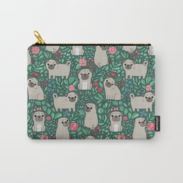 Pugs and summer flowers Carry-All Pouch
