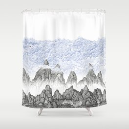 Cobalt Coudy Mountains 2: Lake Shower Curtain