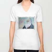 darwin V-neck T-shirts featuring Charles Darwin by Michael Cu Fua