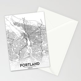 Minimal City Maps - Map Of Portland, Oregon, United States Stationery Cards