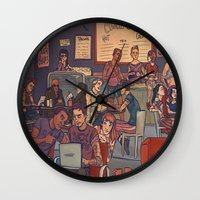 cargline Wall Clocks featuring Clint's Coffee by cargline
