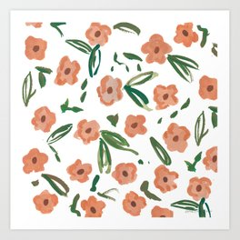 Live Simply Floral Pattern Art Print