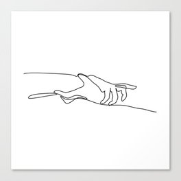 Line Holding Hands Canvas Print