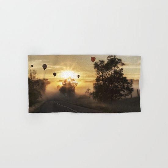 Hot Air Balloons on a Foggy Morning Hand & Bath Towel