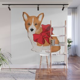 Cute corgi with a bow,beautiful gift idea for corgi lovers Wall Mural