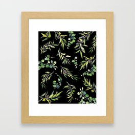 Eucalyptus and Olive Pattern  Framed Art Print