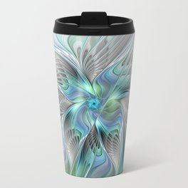 Abstract Butterfly, Fantasy Fractal Art Travel Mug