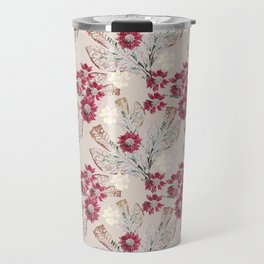 Pink field flowers on beig Travel Mug