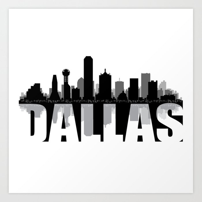 dallas silhouette skyline art print by rayhyra society6