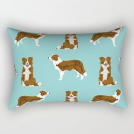 Border Collie red coat dog breed pet friendly gifts for collie lovers Rectangular Pillow