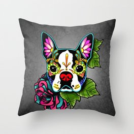 Boston Terrier in Black - Day of the Dead Sugar Skull Dog Throw Pillow