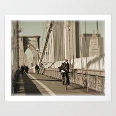 Biking Santa on the Brooklyn Bridge Art Print