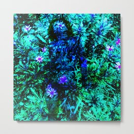 Layered Reality blue woman Metal Print