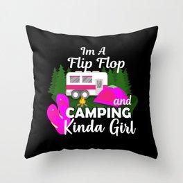 Girls Camping Throw Pillow