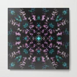 Delicate Lilac and Green Lights - Kaleidoscopic Bokeh Mandala Flower Metal Print