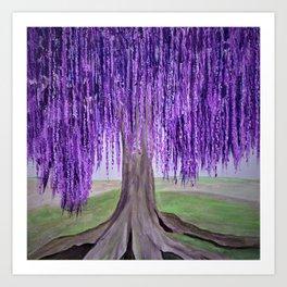 Purple Fantasy Willow tree Art Print