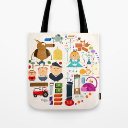 Alice in wonderland + Three Little Pigs aka ALIPIGS Tote Bag