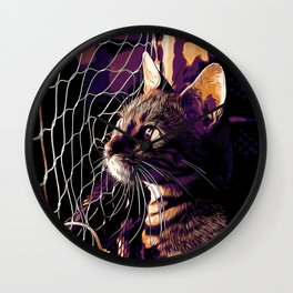 bengal cat yearns for freedom vector art late sunset Wall Clock
