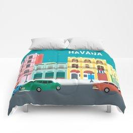 Havana, Cuba - Skyline Illustration by Loose Petals Comforters