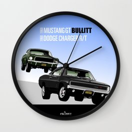Ford Mustang and Dodge Charger from Bullitt Wall Clock