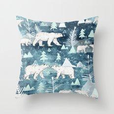 Ice Bears Throw Pillow