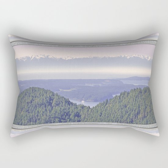 OLYMPIC RANGE AS SEEN FROM ORCAS ISLAND OVER MOUNT ENTRANCE Rectangular Pillow