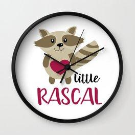 Little Rascal Raccoon Kids Cute Forest Animal Wall Clock