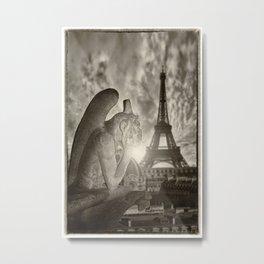 Gargoyle of the Cathedral of Notre Dame de Paris overlooking Paris Metal Print