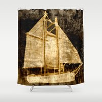 sailboat Shower Curtains featuring Golden Sailboat by Michael P. Moriarty