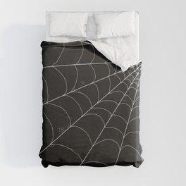 Spiderweb on Black Duvet Cover