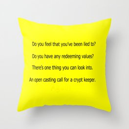 Crypt Call Throw Pillow
