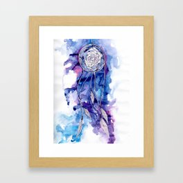 Pale blue and purple dreamcatcher Framed Art Print