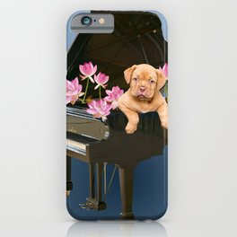Bordeaux Bulldog puppy - Piano - Lotos Flowers iPhone Case