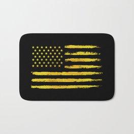 Gold grunge american flag Bath Mat
