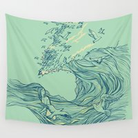 waves Wall Tapestries featuring Ocean Breath by Huebucket