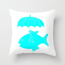 Fish with umbrella Throw Pillow