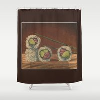sushi Shower Curtains featuring Sushi by Joe Palumbo