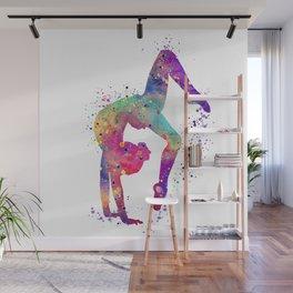 Girl Gymnastics Tumbling Watercolor Wall Mural