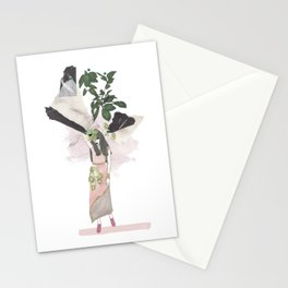 pink & plants 3 Stationery Cards