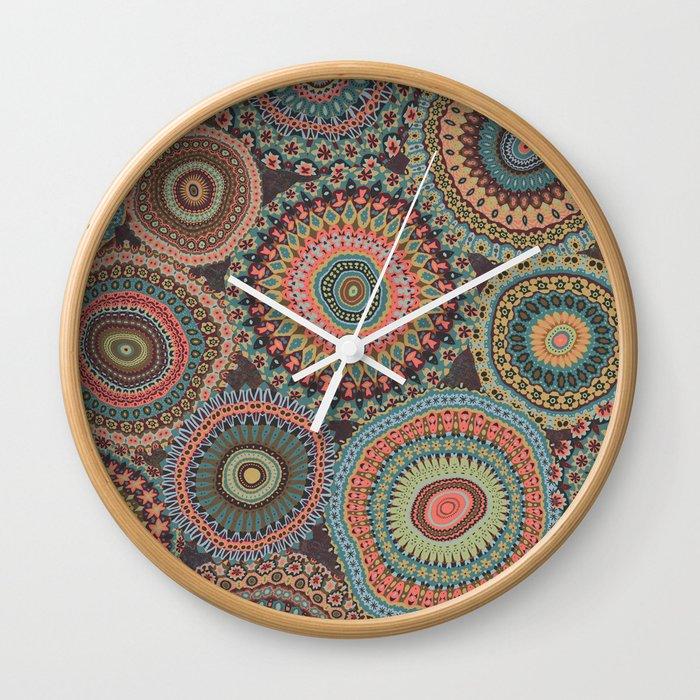 Boho Patchwork-Vintage colors Wall Clock